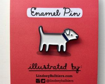 White Dog Enamel Pin / Dog Pin - Illustrated