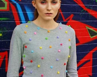 Pom Pom Grey Customised  Rainbow Jumper, grey jumper, rainbow jumper, grey pom pom, festival fashion, festival clothes