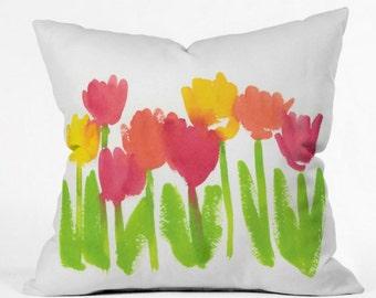 Bright Tulips Indoor Throw Pillow
