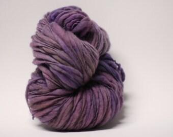 Merino Thick and Thin Yarn Bulky Hand Spun Wool Slub  Hand Dyed tts(tm) Amethyst 000x
