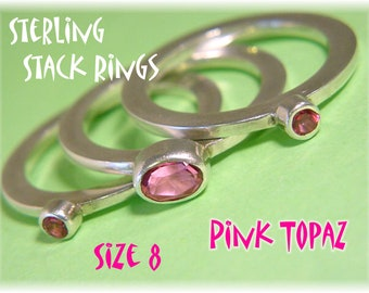 Sterling Silver Raspberry Pink Topaz Stack Rings - Set of 3 - Size 8 - Mothers Day Wedding Rose Garden Flower - Gift Box - FREE SHIPPING