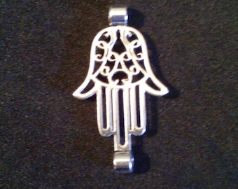 Silver plated hamsa hand cord separator. Jewelry connector. Bohemian jewelry supplies. Barefoot sandals charm supplies.
