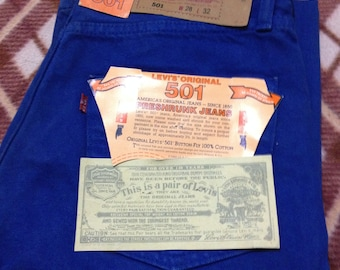 Brand New Vintage Levi's 501 Blue Denim Jeans W28 L32 Made In U.S.A