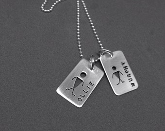 TWO Child Tags on a Chain- sterling necklace Custom PERSONALIZED Mothers Day Fathers Day Dads