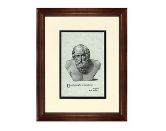 Print and Quotation of Diogenes with Mat and Frame