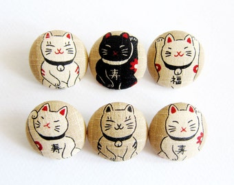 Cat Buttons Sewing Buttons / Fabric Buttons - 6 Large Fabric Buttons Set - Japanese Lucky Cats