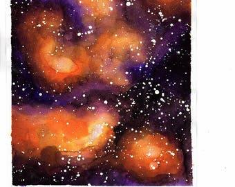 Orange and Purple Multicolor Original Watercolor Galaxy Space Nebula Night Sky Stars
