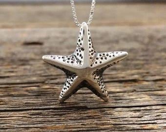 Silver Starfish Pendant, Sterling silver sea star pendant, Nautical design necklace, Handmade, Pendant #119.A
