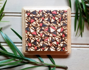 Wood Burned Square Coaster, Art, Geometric Design, Color Pencil, Drinks, Beverages, Gifts, Home Decor