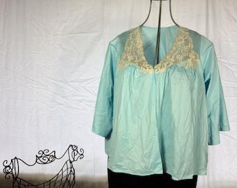 Vintage Light Blue and Lace Lingerie Blouse