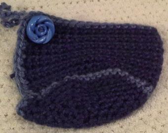 Crochet Mug Cozy with Built in Coaster // Dark Blue