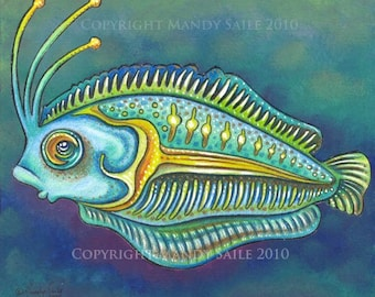"""Funky Fish 7 - an 8 x 10"""" ART PRINT of a funky and imaginative turquoise and emeral green fish swimming happily amongst the dark sea floor"""