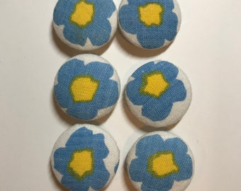 Vintage Fabric Buttons, Sewing Buttons, 25mm Fabric Buttons, Vintage Fabric, 6 Fabric Covered Buttons, Handmade Buttons, Blue Flower Buttons