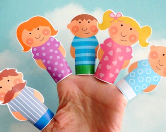 DIY Printable Finger Puppet Family PDF - Daddy, Mommy, Brother, Sister & Baby - Light Skin and Dark Skin Download