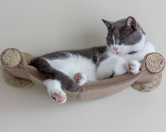 Cat Hammock - Wall Mounted Cat Shelf - Tan