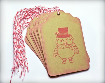 Holiday Owl Tag Set 10 Blank holiday gift present tag twine green red