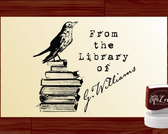 Bird on Books Personal Stamp Ex Libris / From the Library of Custom Self Inking Stamp - Personalized Library Preink Stamper - Style 1571