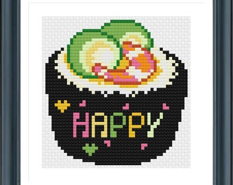 Sushi Cross Stitch Pattern, Digital Format, PDF