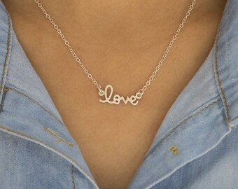 TwoBirch Personalized Script Nameplate Necklace -Handmade and Customizable - Sterling Silver