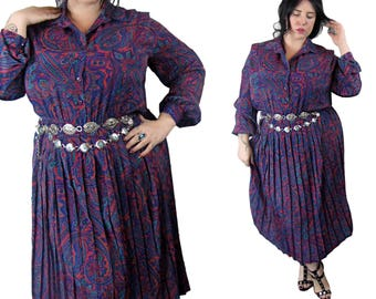 Plus Size Vintage 1980's Silky Paisley Dress - Size 1X