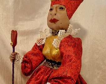 Queen of Hearts-Art Doll from Alice in Wonderland  (Made to Order by Request)