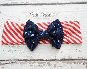 4th of July headband, patriotic headband, baby headbands, 4th of july top knot, 4th of july messy bow, messy bows, floppy bow headband, baby