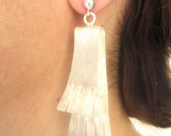 Mat finish silver earrings, Silver 925, Handmade earrings