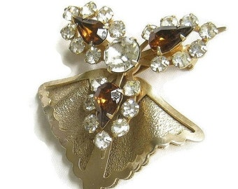 1940s Rhinestone Retro Brooch Amber and Clear Layered Vintage