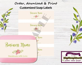 Pretty Decorative Hand Soap Labels, Soap Wrappers Customized for your Business