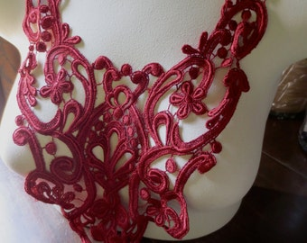 RED Lace Applique in Deep Red Venise Lace for Garments, Costume Design CA 120red