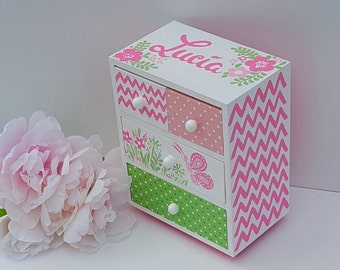 hot pink butterfly jewelry box personalized kids jewelry box