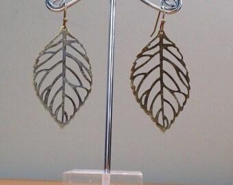 antique brass bronze leaf earrings