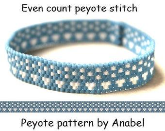 Easy bracelet pattern Even count peyote pattern for beginner Beadwork design Peyote bead pattern Simple peyote stitch pattern  Miyuki delica