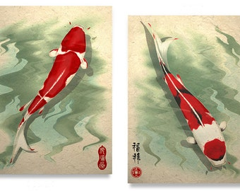 Koi Art Print Set Asian Art Wall Decor Zen Art