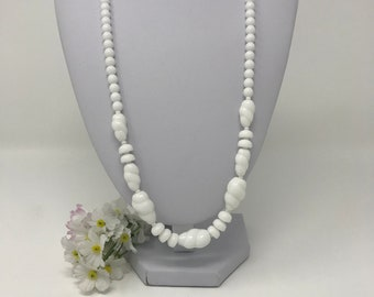 White Glass Bead Necklace - Summer Vintage Beaded Necklace