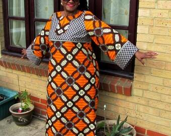 Orange and Cream African Wax Maxi Lounger Caftan,  African Wax Maxi Dress, Long Ankara Dress - Made to Order