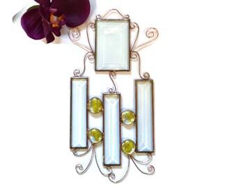 Stained Glass Suncatcher, Window Decoration, Beveled Glass, Yellow Gems, Copper Wire