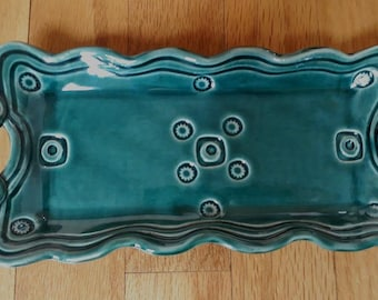Ceramic Green Serving Tray