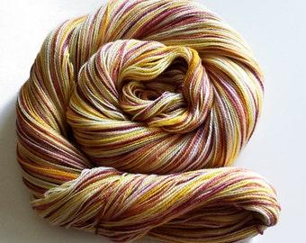Handdyed Merino/Silk Laceweight Yarn - Gold Will Never Rust - gold, yellow, rust, white, pink, peach - Enamored