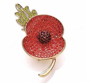Remembrance Day 2016 Diamanté  Rhinestone Poppy Brooch