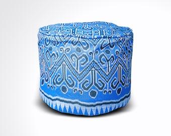 "Round Ikat Pouf Ottoman, Blue & White. Ethnic, Boho Pouf, Floor Cushion. Handwoven in Indonesia. 20""W x  13.5""H"