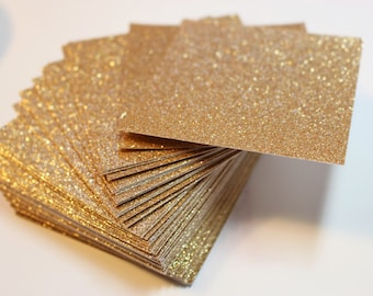 Gold Glitter Cardstock / Wedding Invitations and Favor Tags / Party Tag / Wedding Supplies / Set of 25 Blank Gold Glitter Paper Squares