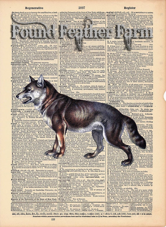 "Vintage Antique Dictionary Page with Antique Print ""Snarling Wolf"""