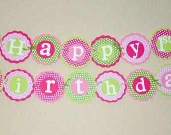 Cupcake Happy Birthday Banner. Polka Dots. Pinks. Green. Birthday Banner. Cupcake