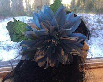 Large Blue Dahlia Hair Flower