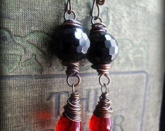 Red and Black Copper Wire Wrapped Earrings.