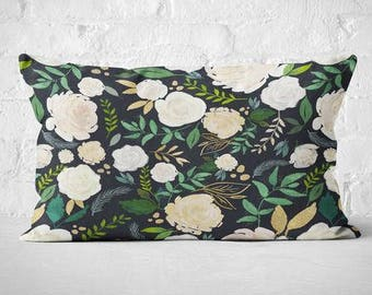 Floral Pillow Cover Lumbar Pillow Cover Slate Floral