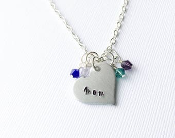 Mother's necklace, Mother's Day jewelry,  heart necklace, personalized jewelry, gift for her,  gift for mom, mom necklace, gifts for mom