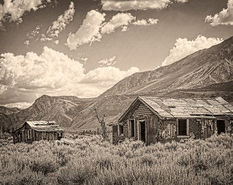 Rustic Decor, Farmhouse Decor, Old Abandoned House, Western Decor, Sepia Toned Art Print, Cowboy Decor, Manly Art, The Old West, Old Cabins