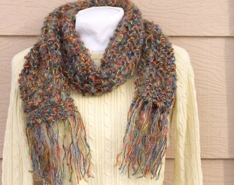 Knit Scarf, infinity scarf, hand knit scarf, hand knit infinity scarf, Multi-color scarf, scarf with fringe, long scarf